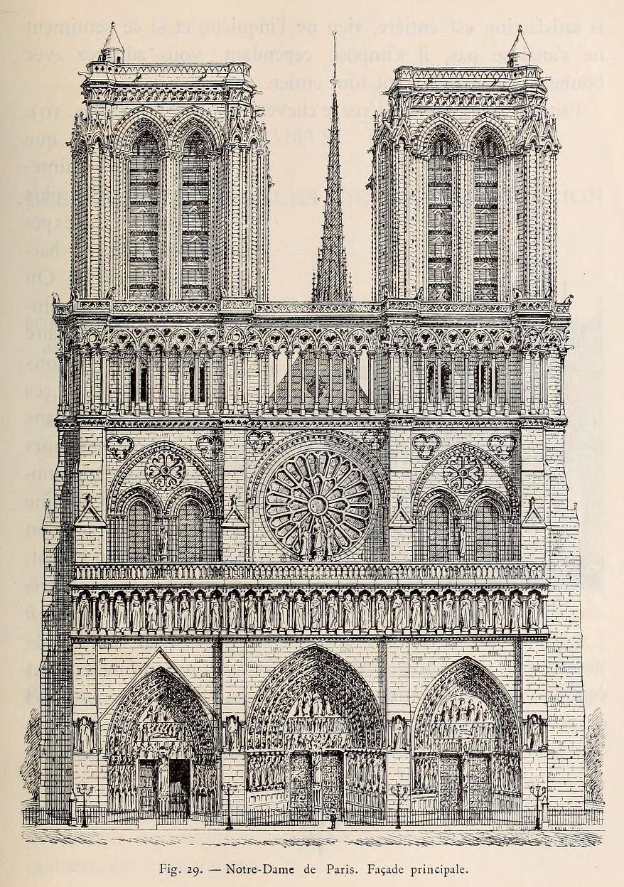 878x1248 Front Elevation Of Notre Dame Cathedral Paris Drawing