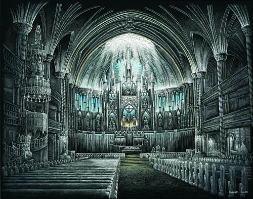 500x393 Gothic Cathedral Interior Drawing Lovely Set Patio At