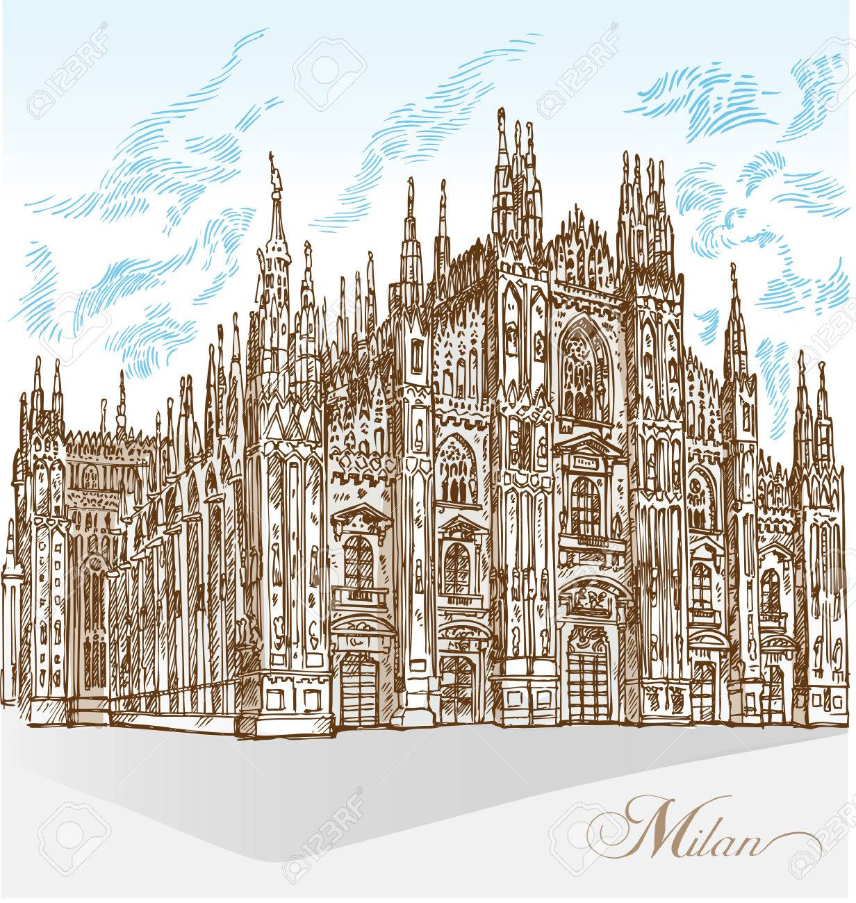 1232x1300 Milan Cathedral Hand Draw Royalty Free Cliparts, Vectors,