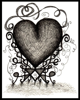 320x400 Gothic Heart Drawing