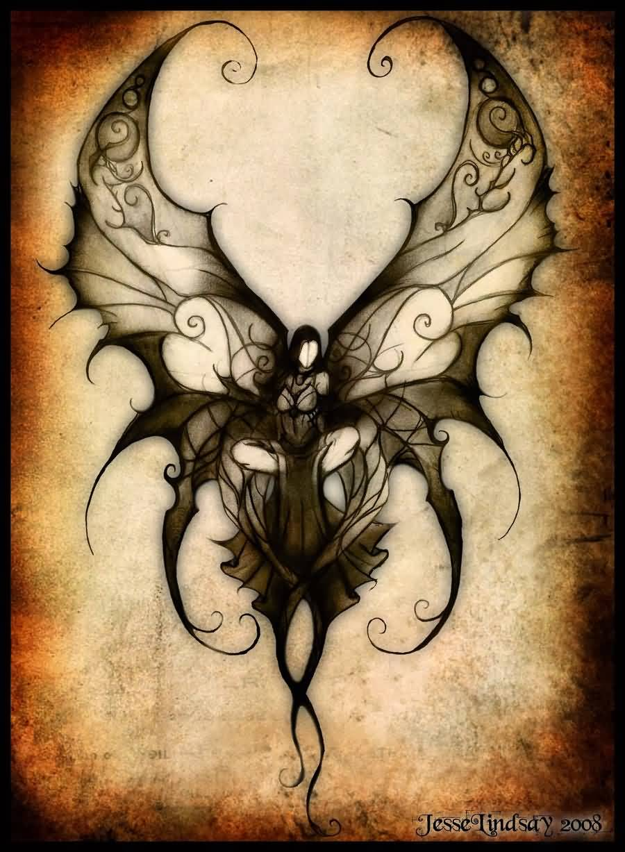 900x1227 Attractive Black Ink Gothic Fairy Tattoo Design By Acarakic94