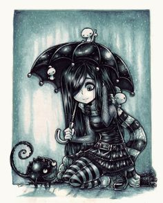 236x294 Goth Girl In The Rain With Cat. Because What's More Miserable Than