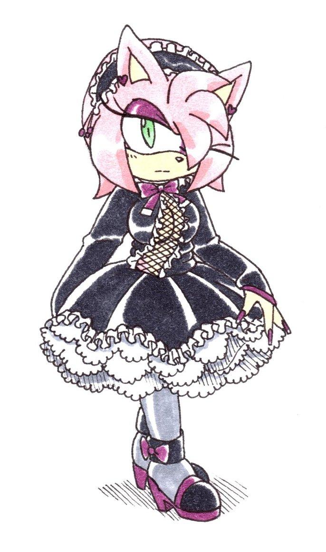 686x1163 Amy Rose Gothic Lolita By Amortem Kun