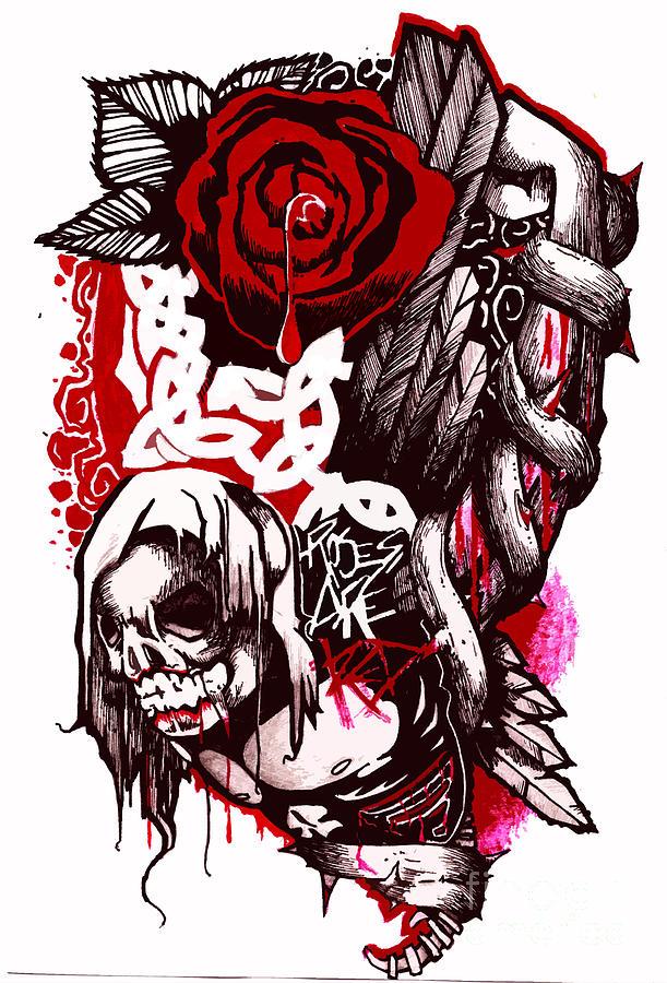 611x900 Blood Rose Drawings Fine Art America