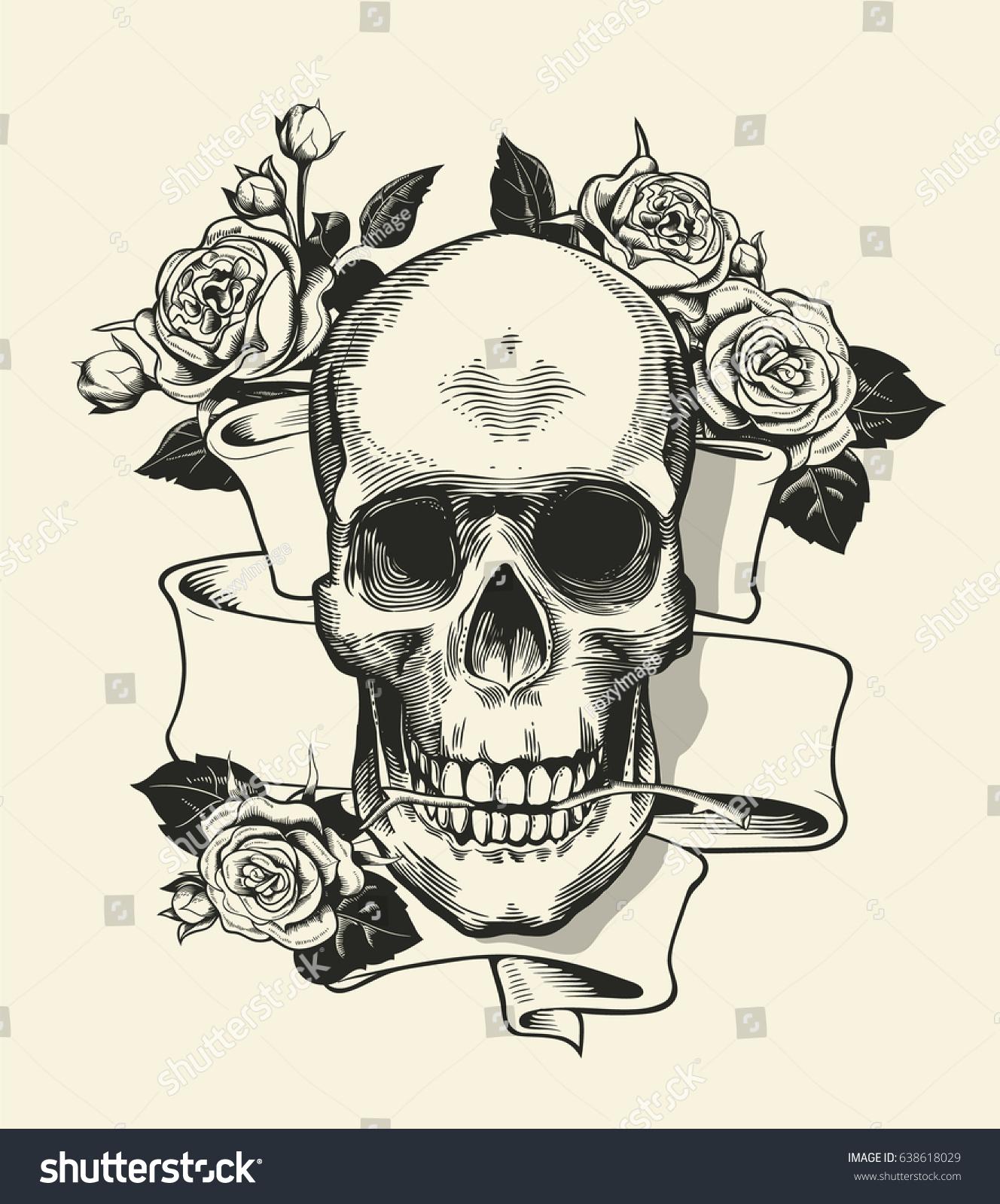1328x1600 Skull And Rose Ribbon Drawings 35 Gothic Skull Tattoos
