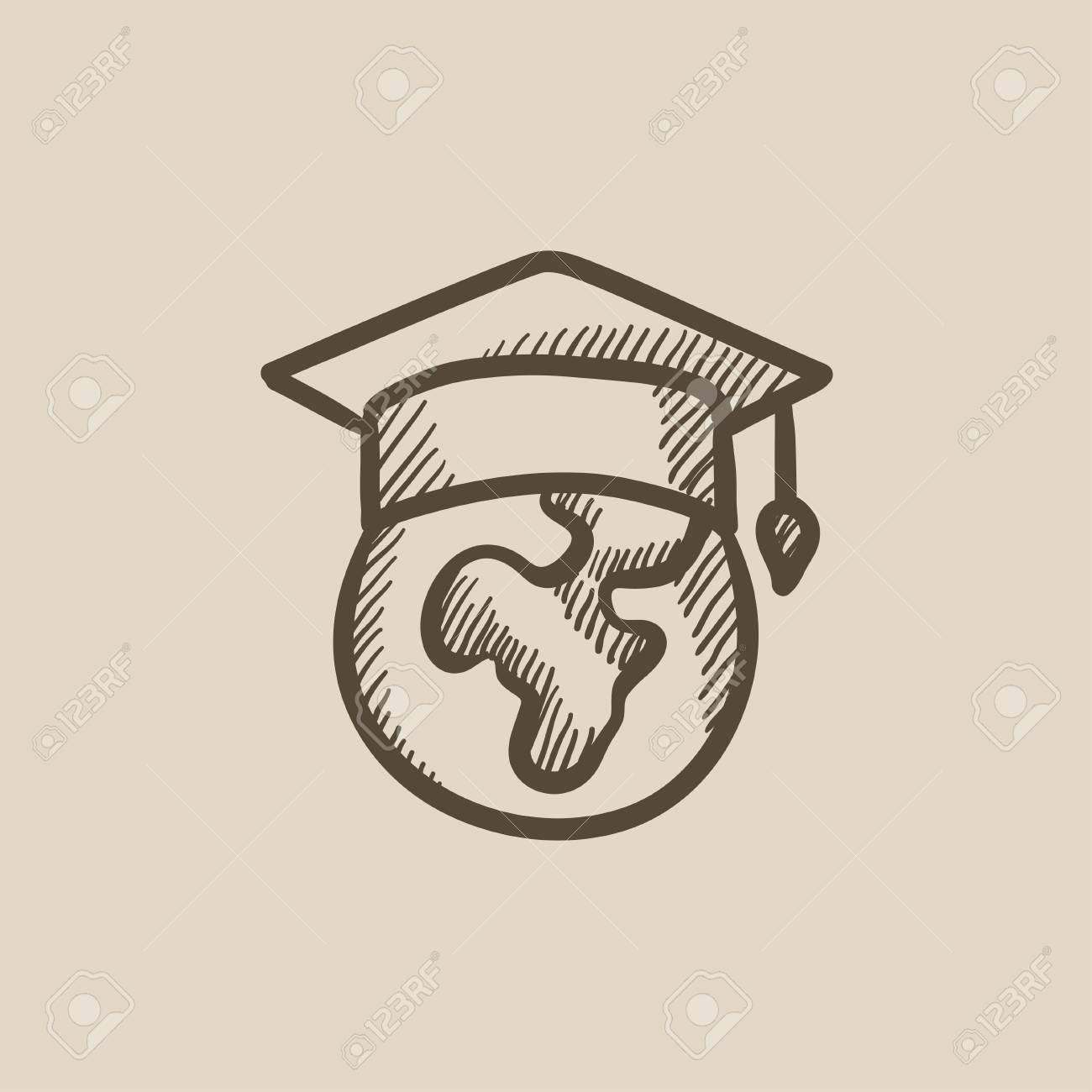1300x1300 Globe In Graduation Cap Vector Sketch Icon Isolated On Background
