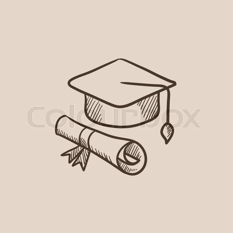 800x800 Graduation Cap With Paper Scroll Sketch Icon For Web, Mobile