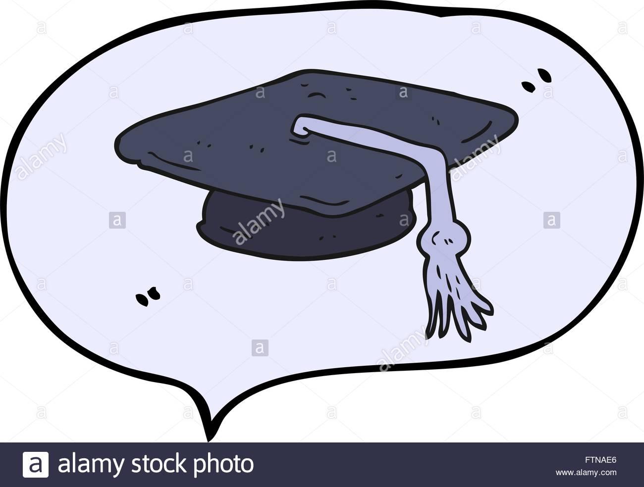 1300x984 Freehand Drawn Speech Bubble Cartoon Graduation Cap Stock Vector