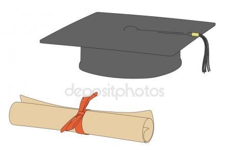 450x300 Drawing Of Graduation Cap And Diploma Stock Photo Sashsmir