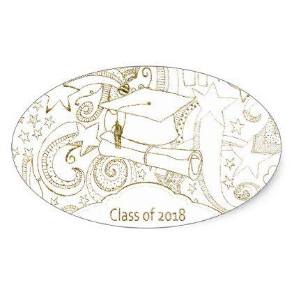 422x422 Drawn Graduation Cap And Diploma, 2018, Gold Oval Sticker Cap