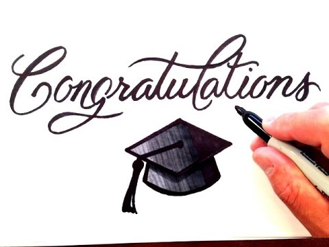 480x360 How To Draw Congratulations With Graduation Cap