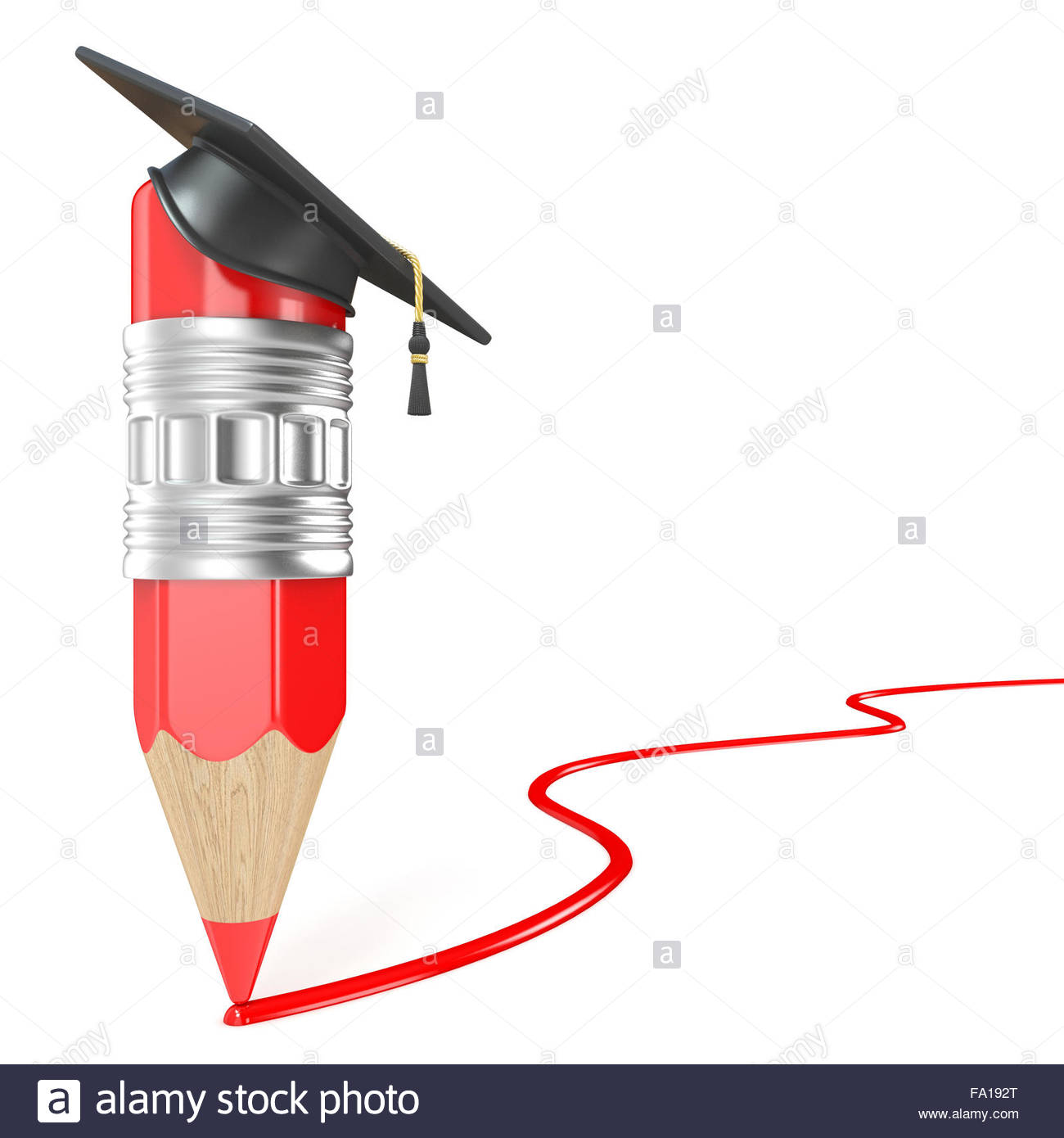 1300x1390 Red Pencil With A Graduation Cap Drawing Red Line. Education