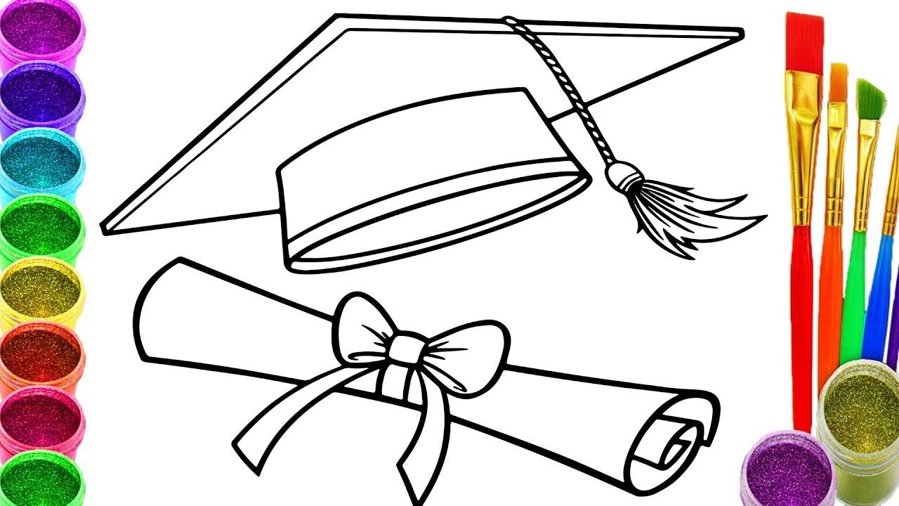 1280x720 Drawing Of Graduation Cap Doodle Graduation Cap Diploma Scroll
