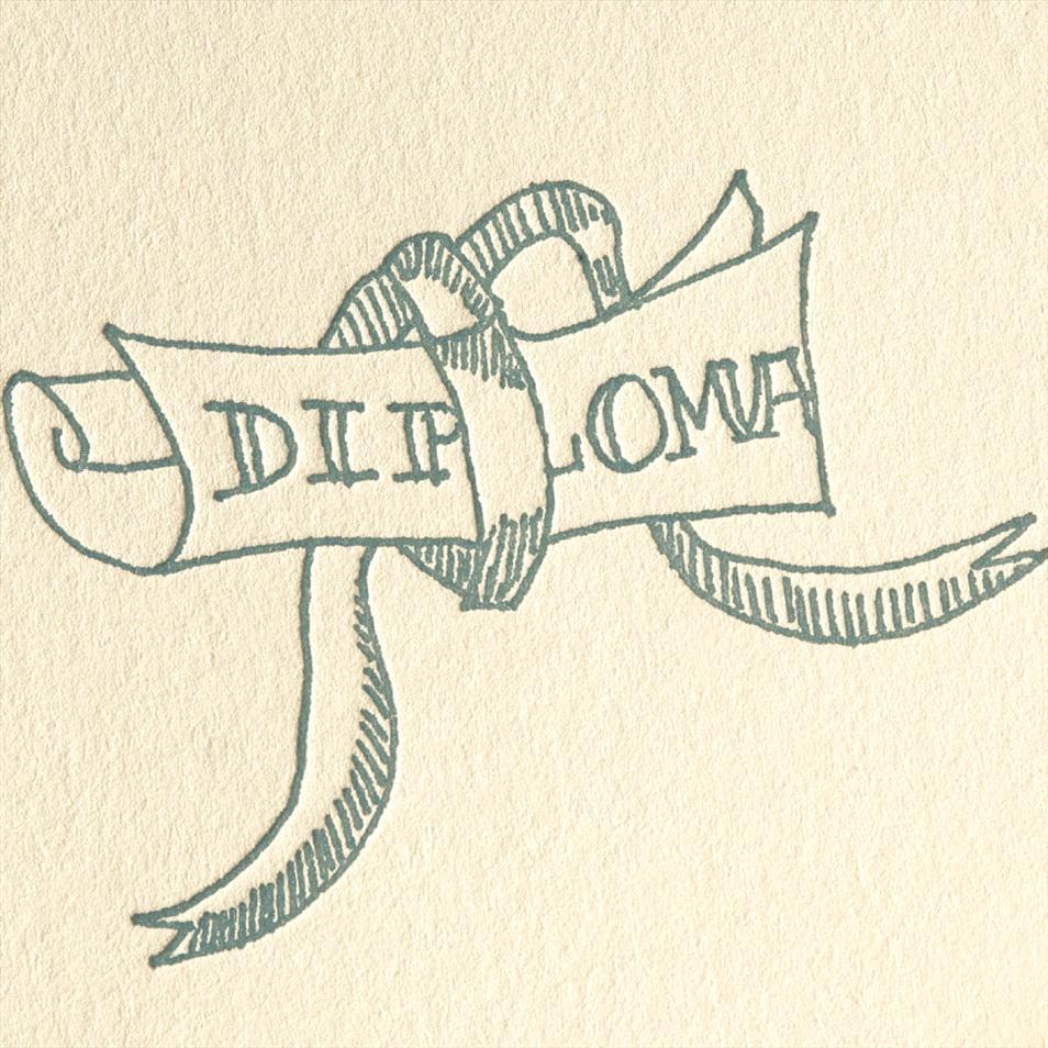 954x954 Simple Letterpress Diploma Rewards Drawing For Graduation Greeting