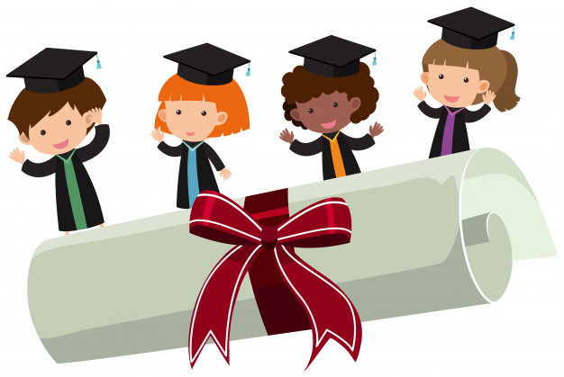626x419 Kids With Graduation Gown And Roll Diploma Vector Premium Download