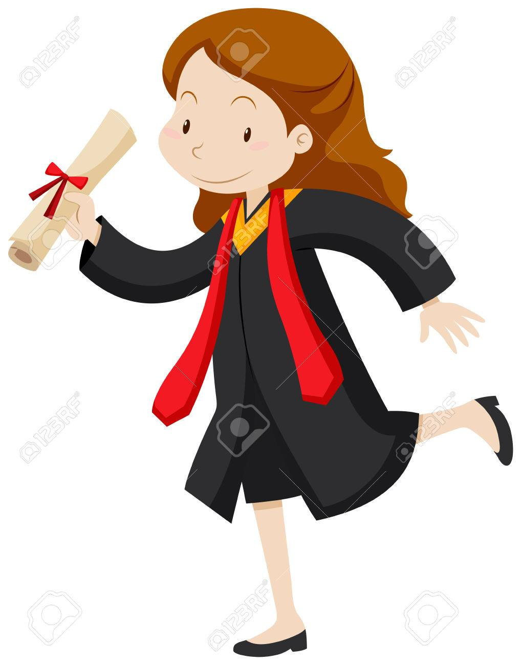 1018x1300 Woman In Graduation Gown Holding Degree Illustration Royalty Free
