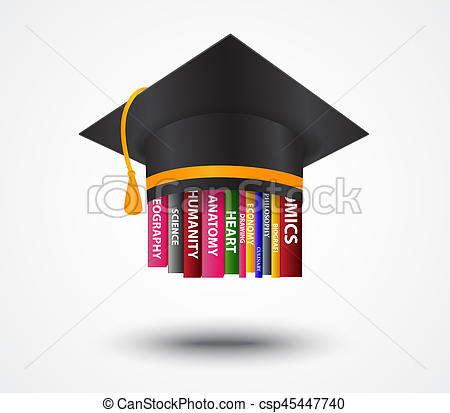 450x413 Illustration Of Graduation Cap With Books Concept Drawing