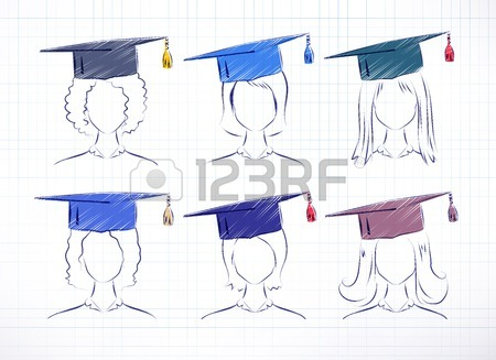 450x327 Student Girl Wearing Graduation Hat. Vector Hand Drawn Sketch