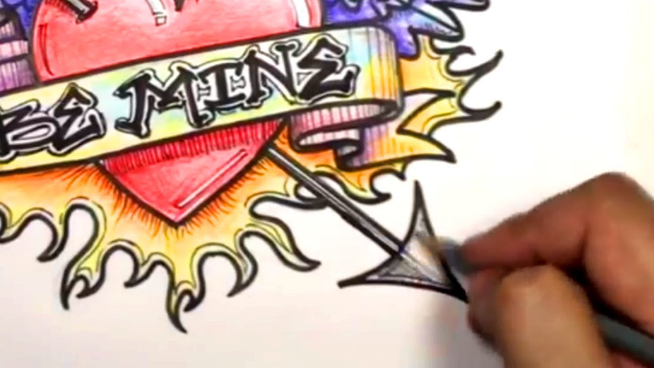 1280x720 How To Draw A Heart Ultimate Graffiti Heart Design With Banner