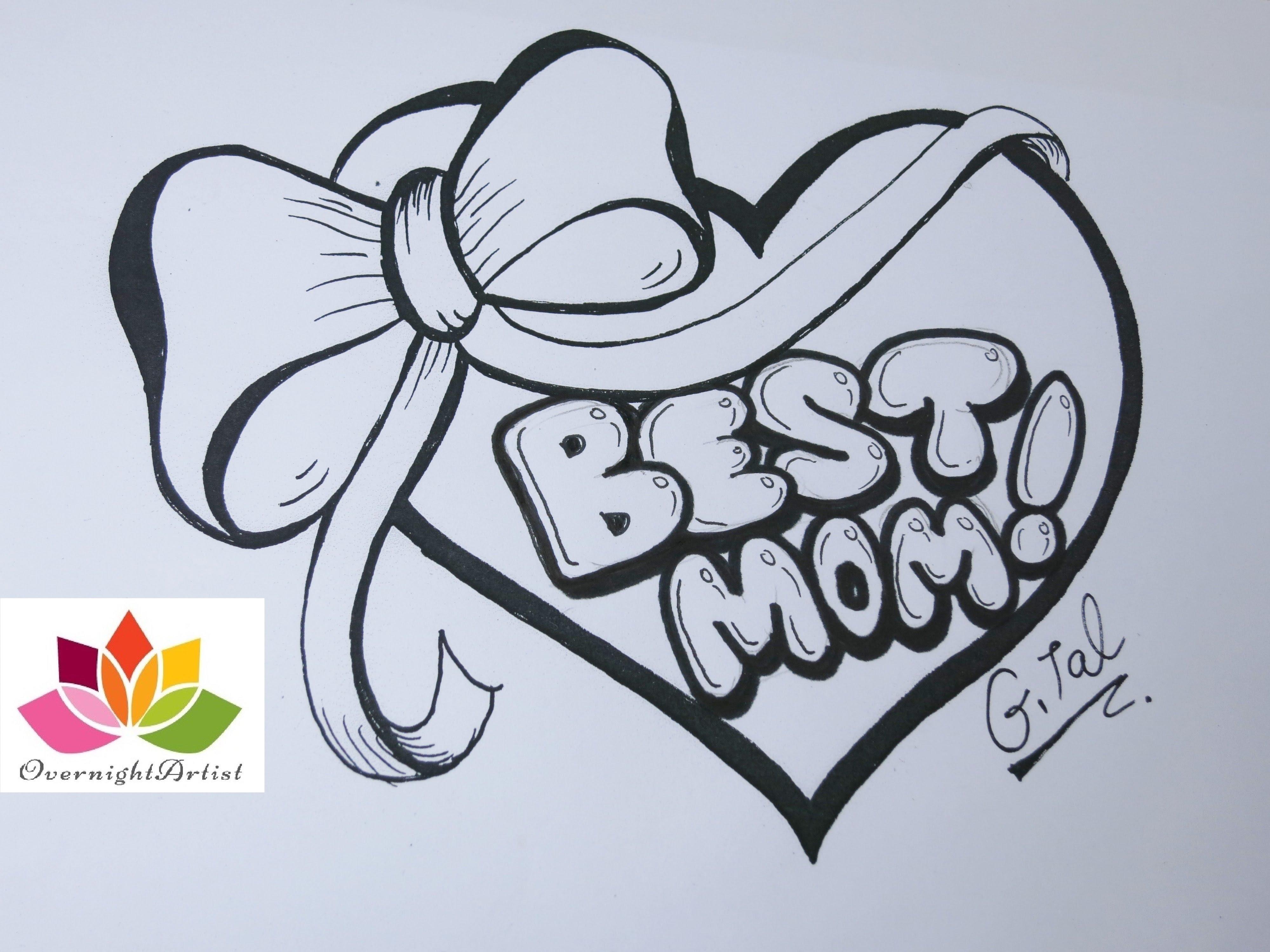 4000x3000 I Love You Mom Graffiti Draw Best Mom On A Heart, Puffy Ribbon Bow