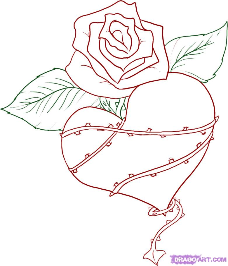 781x909 Love Heart Drawings How To Draw A Thorned Heart Step 6 Color