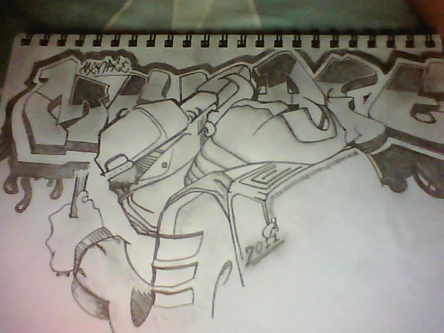 640x480 Graffiti Pencil Sketch By Menace87