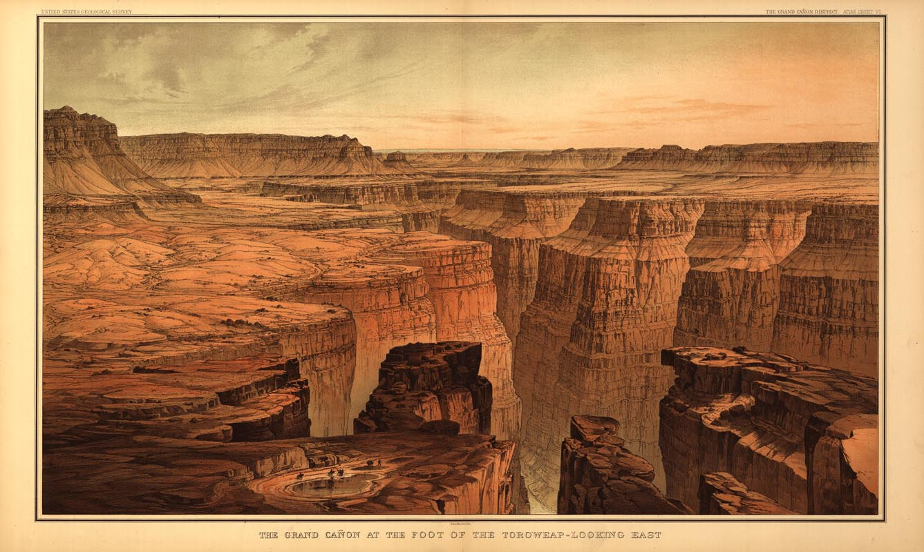 1337x800 Grand Canyon Drawing Usgs 1882 Birds Eye View