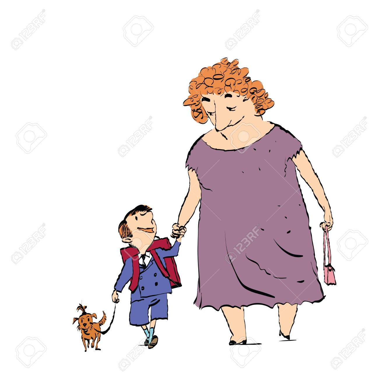 1300x1300 Grandma, Grandson And Dog On A Walk. Color Sketch Drawing.