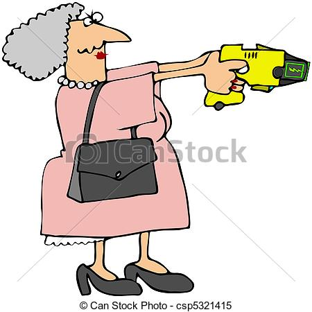 450x450 Grandma With A Stun Gun. This Illustration Depicts An Stock