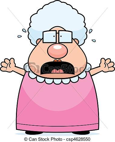 381x470 Scared Grandma. A Cartoon Grandma With A Scared Expression. Vector