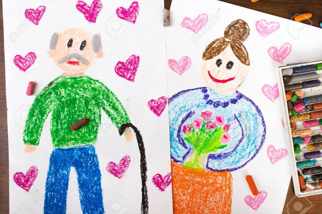 1300x866 Colorful Drawings Grandparents Day Cards Stock Photo, Picture