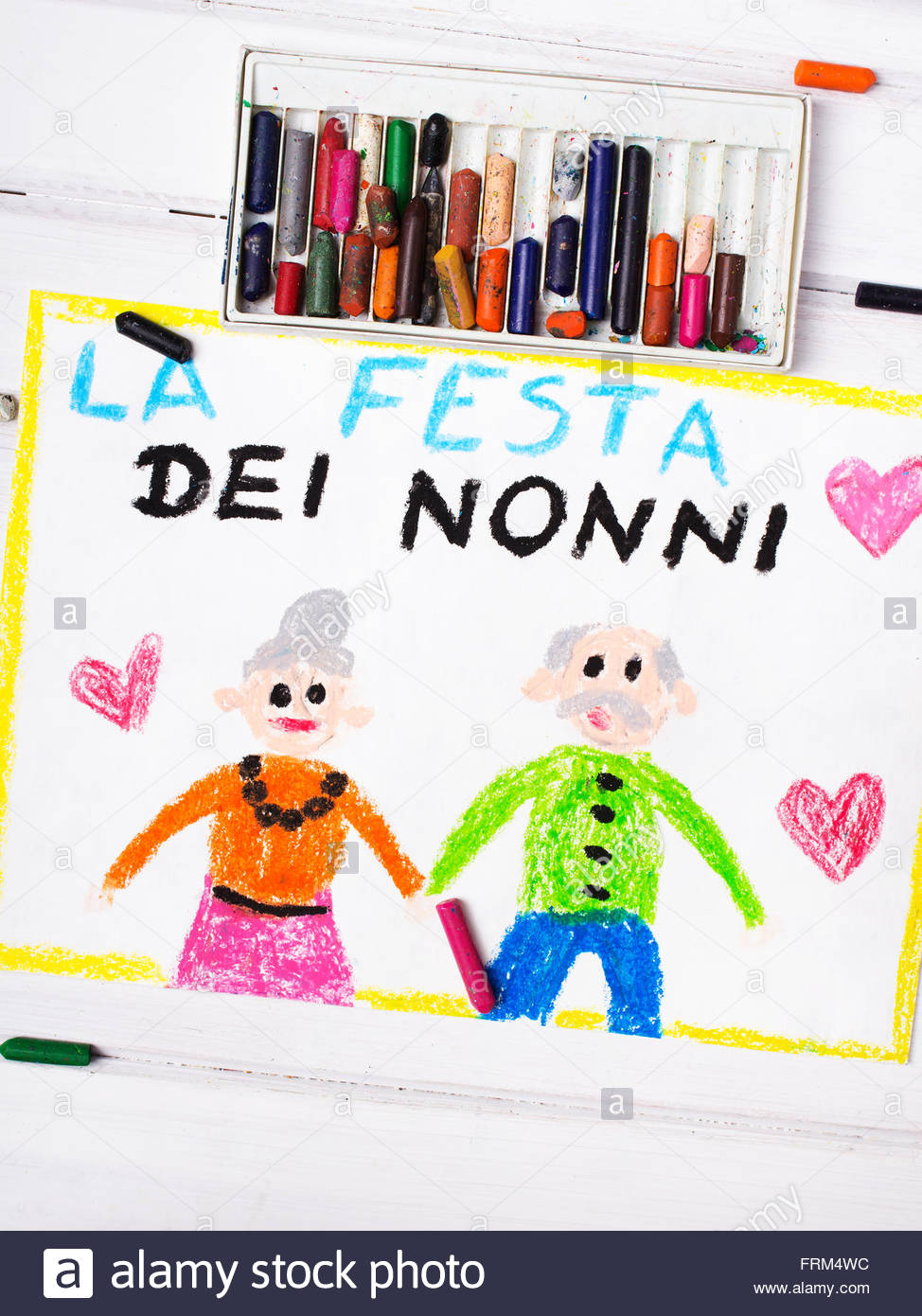 974x1390 Colorful Drawing Italian Grandparents Day Card Stock Photo