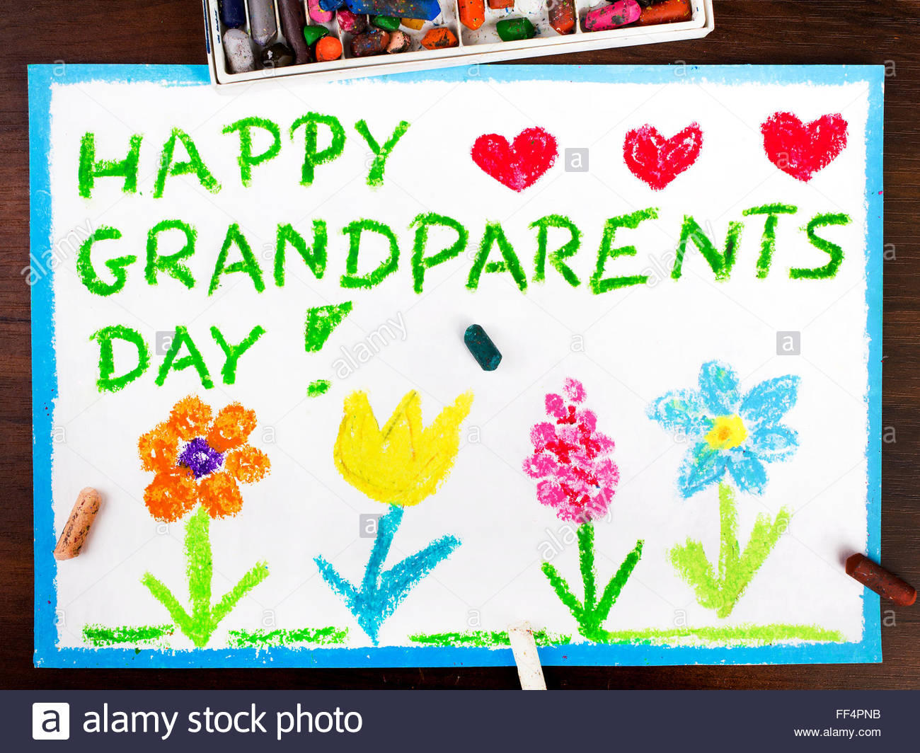 1300x1064 Colorful Drawing Grandparents Day Card Stock Photo, Royalty Free
