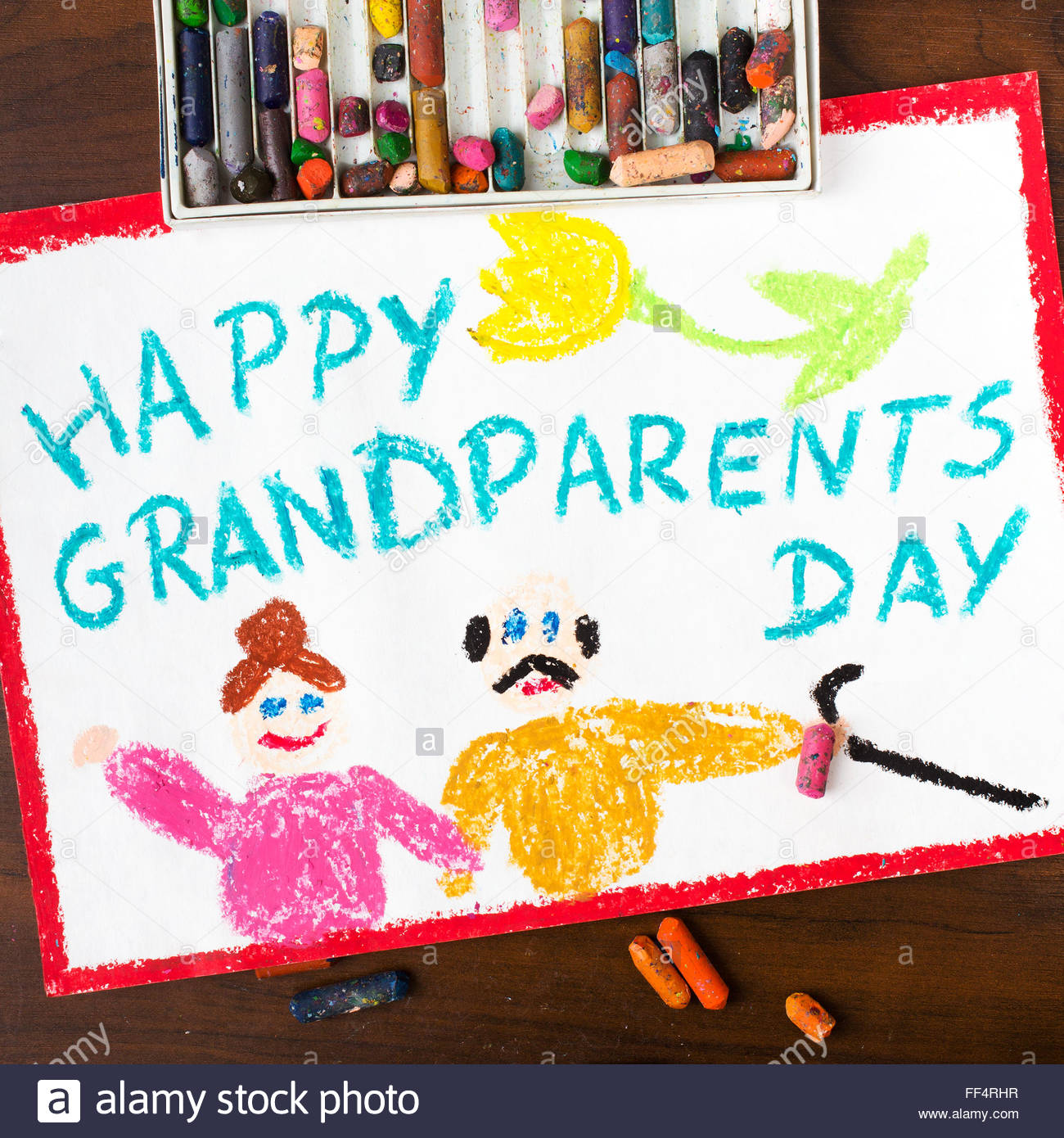 1300x1390 Colorful Drawing Grandparents Day Card Stock Photo 95378019