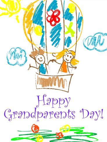 368x490 Joyful Drawing Grandparents Day Card Birthday Amp Greeting Cards