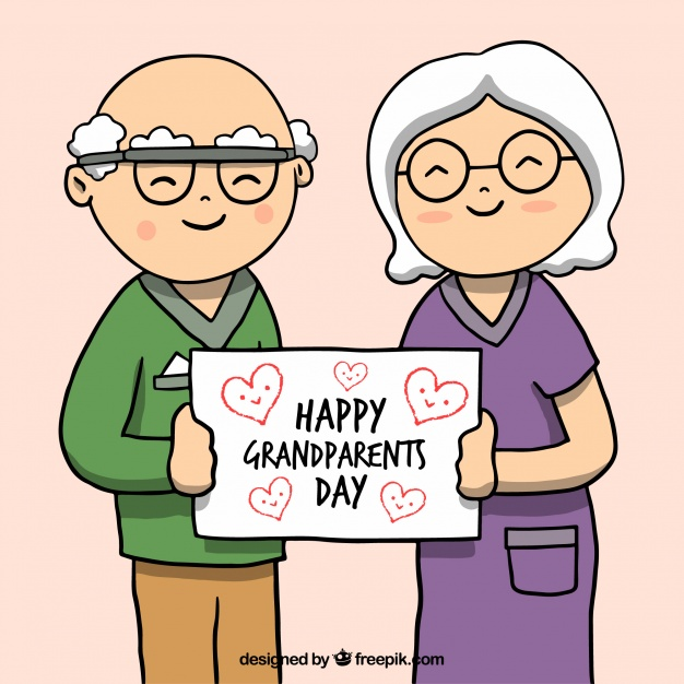 626x626 Nice Drawing Of Grandparents With A Placard Vector Free Download