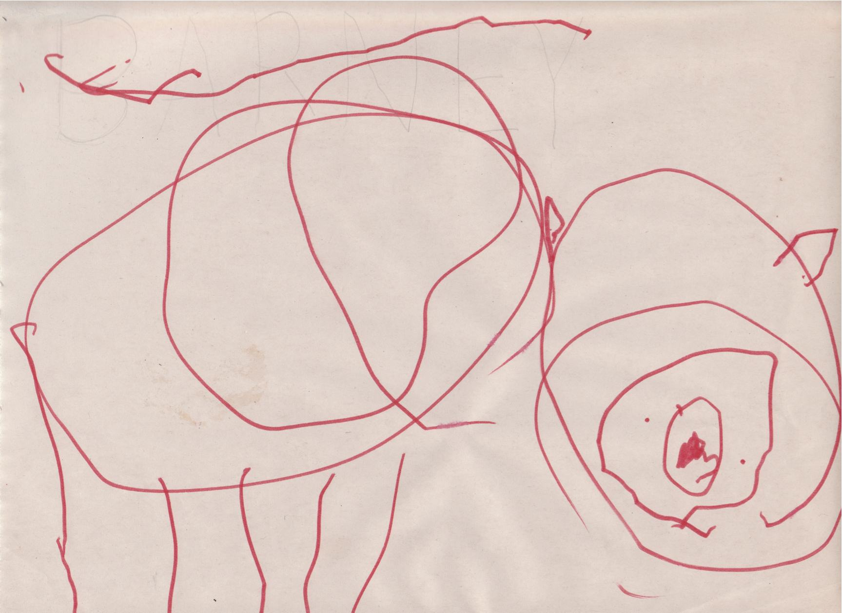 1727x1258 Barney Cora, Age 3.5 Drawing Of Her Grandparents' New Dog. We