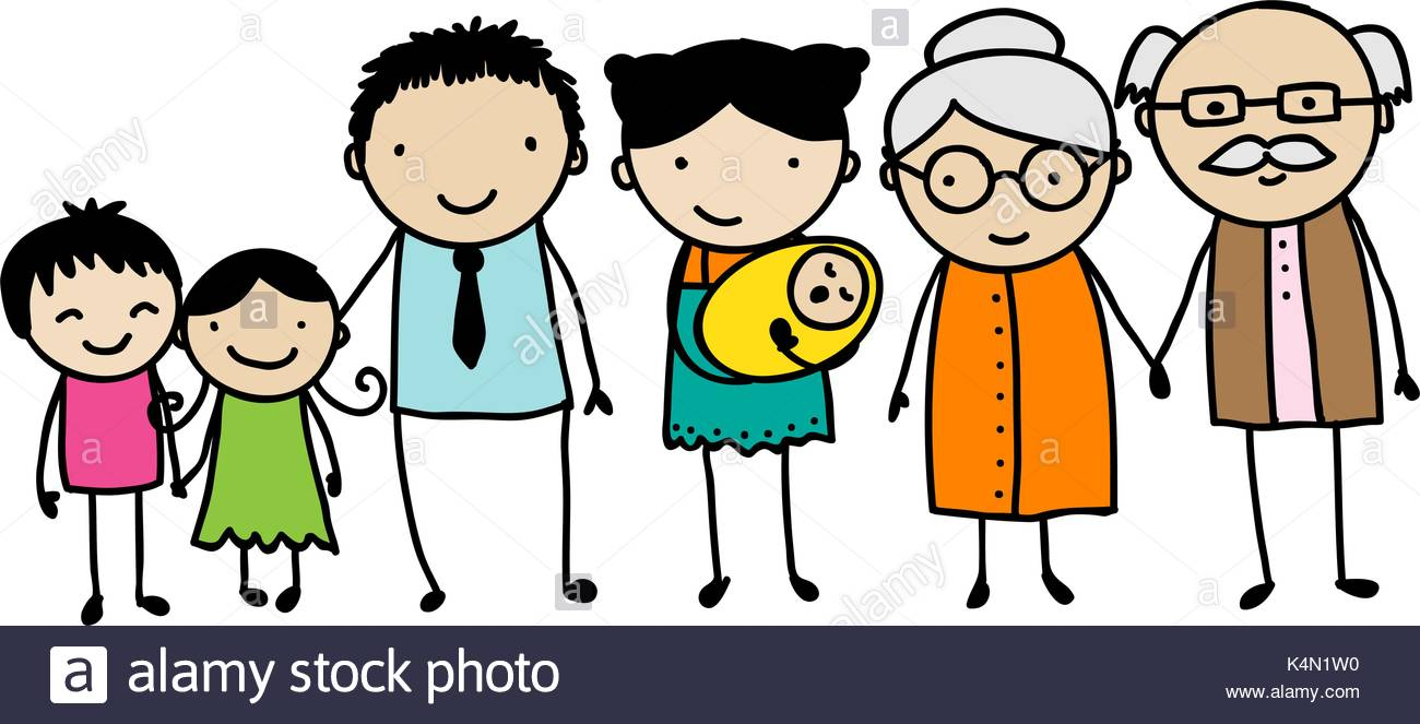 1300x663 Children's Style Drawing Of A Traditional Family With Children