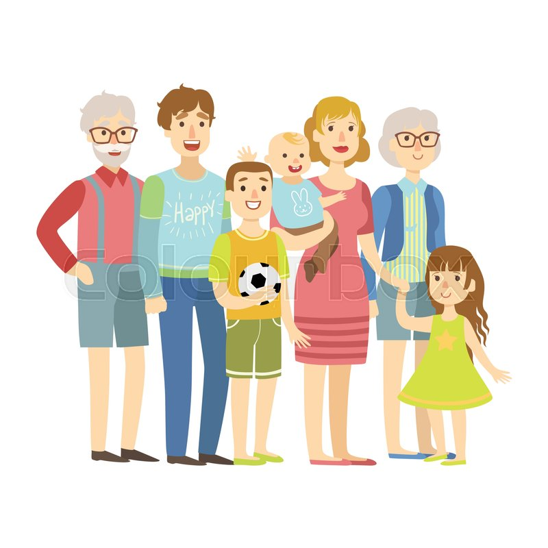 800x800 Full Family With Parents, Grandparents And Two Kids, Illustration