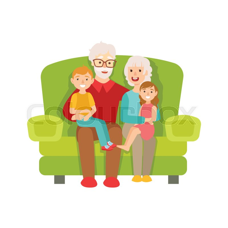 800x800 Grandparents And Grandchildren Sitting On The Sofa, Part