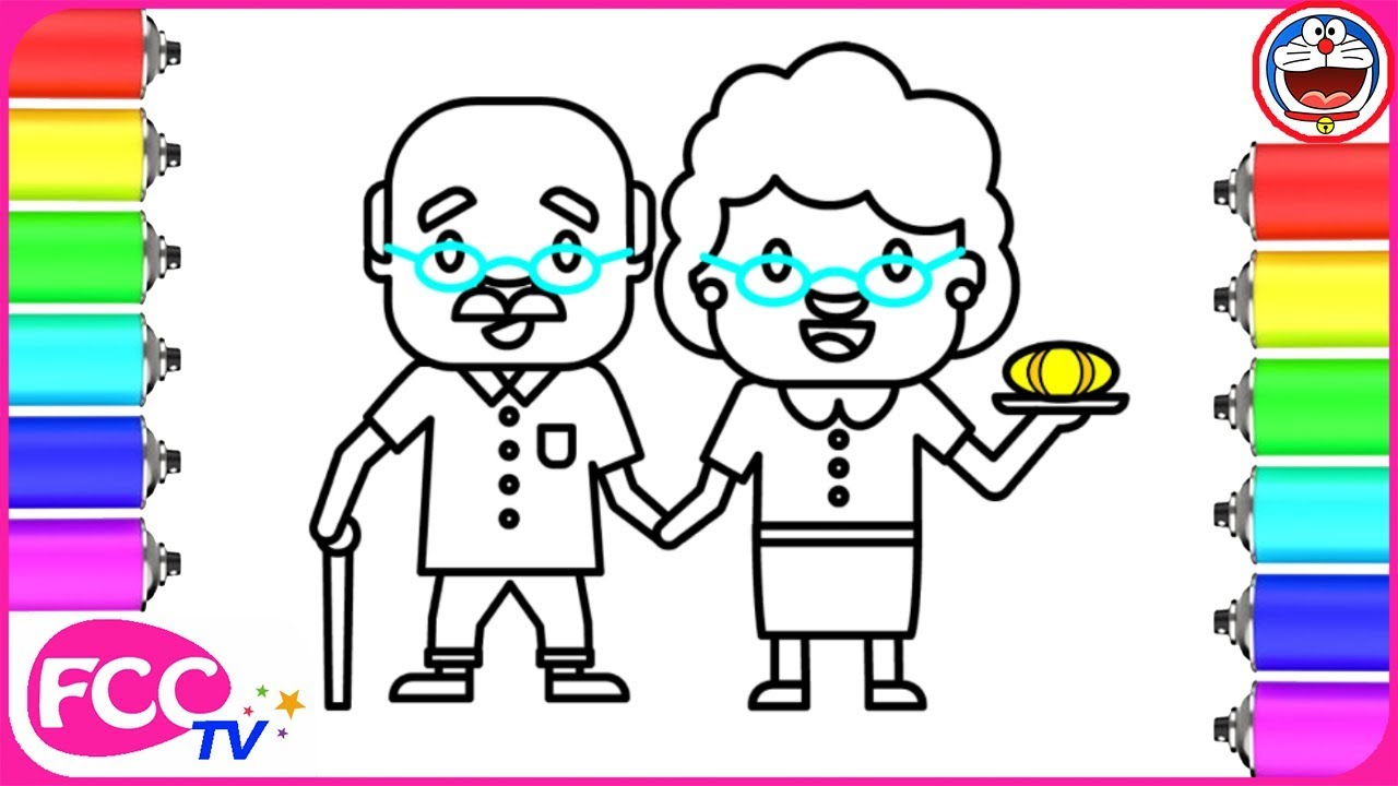 1280x720 How To Draw Grandparents Coloring Pages For Learning Colors