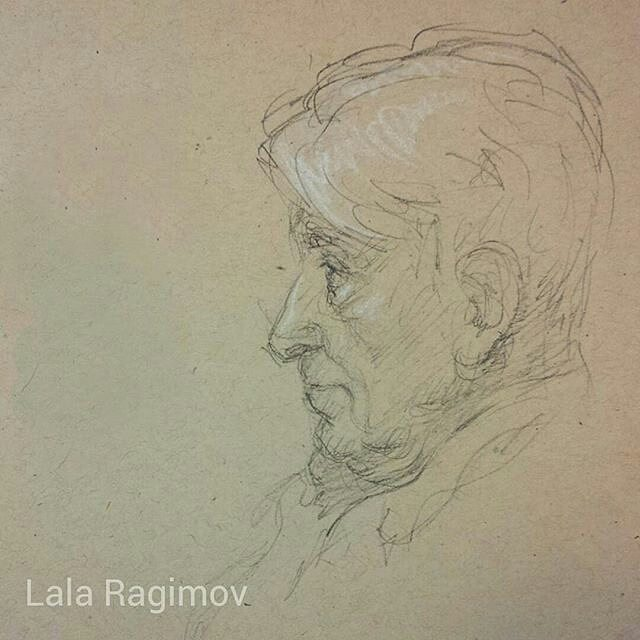 640x640 Lala Ragimov Grandfather Charcoal Charcoal Pencil Sketch
