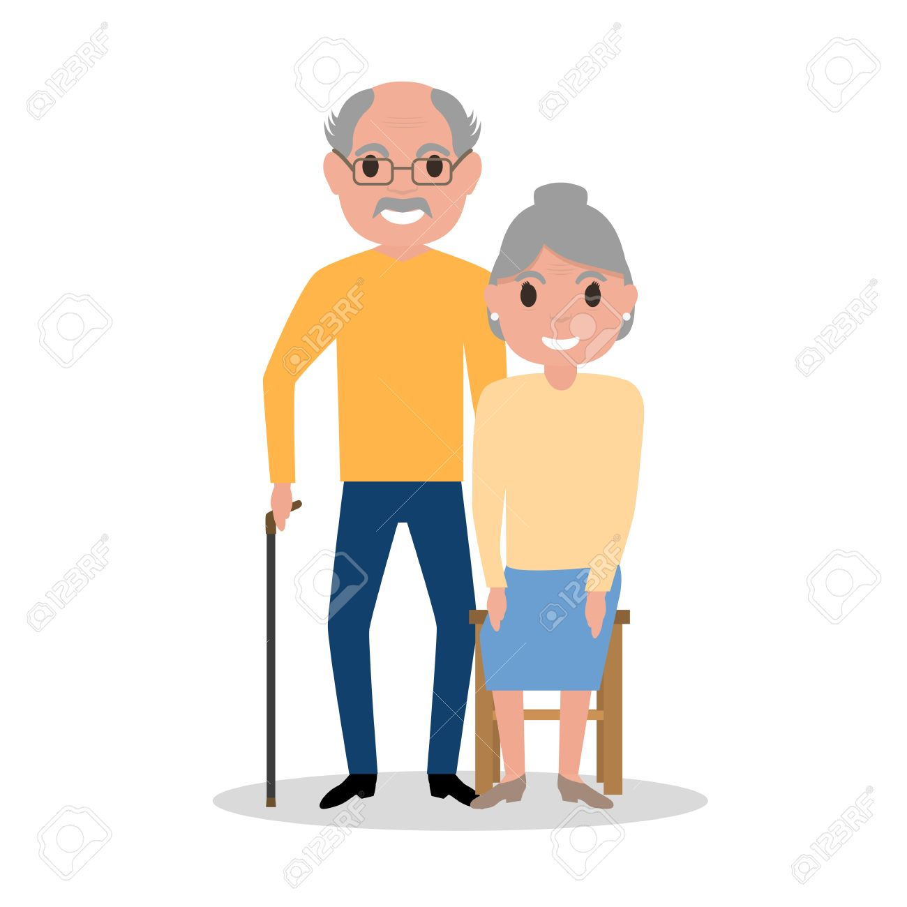 1300x1300 Vector Illustration Of An Elderly Couple Grandparents, Aged People