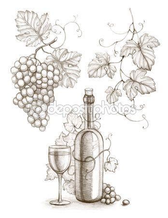 348x450 Wine Bottles, Wine, Grapes, Grape Leaves Drawings