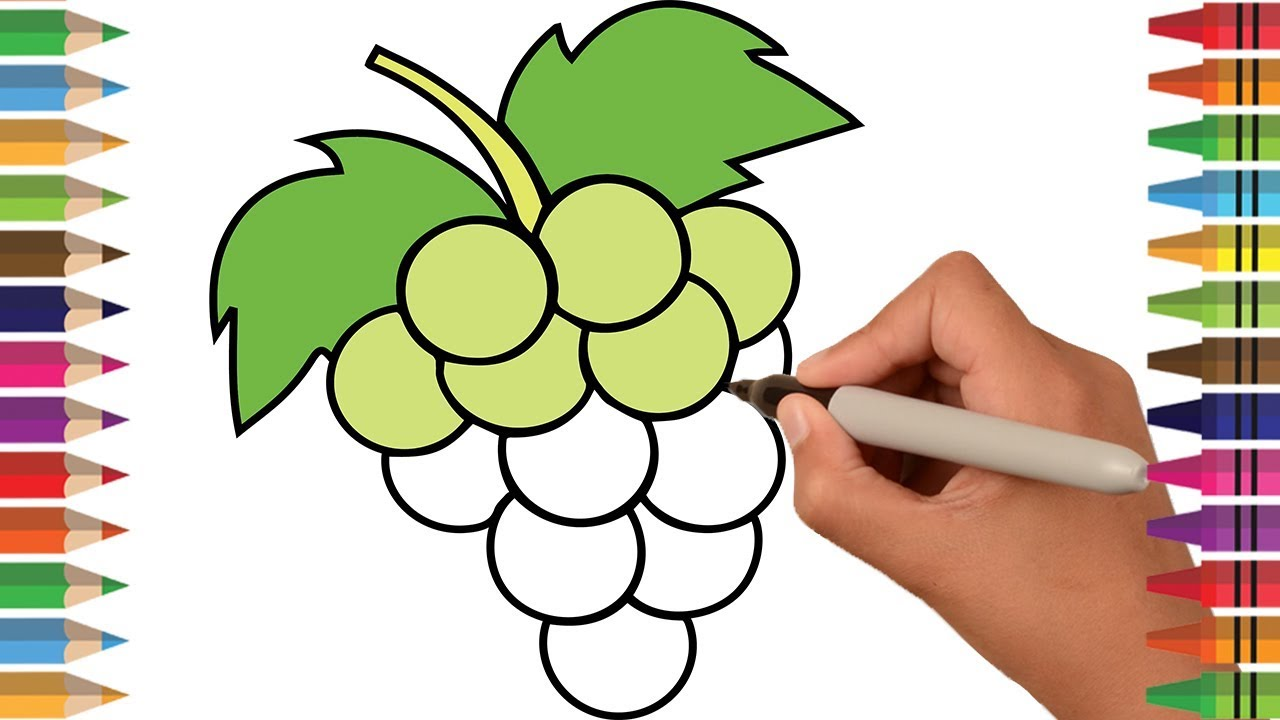 1280x720 How To Draw Grapes Coloring Pages, Drawing Fruits For Kids