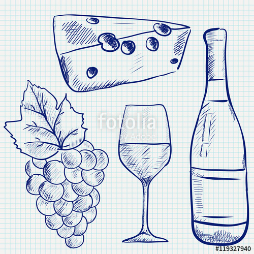 500x500 Wine Set Sketch. Wine Bottle, Glass, Grapes, Cheese. Hand Drawing