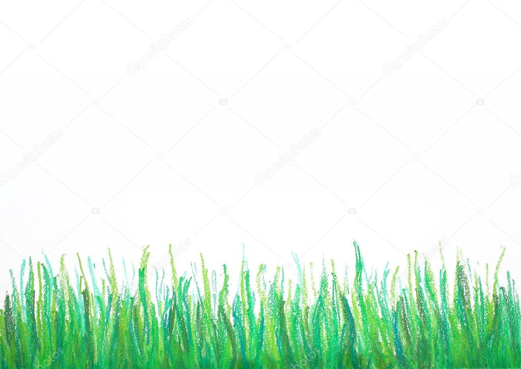 1023x725 Grass Drawing Frame Isolated On White Stock Photo Lenanet