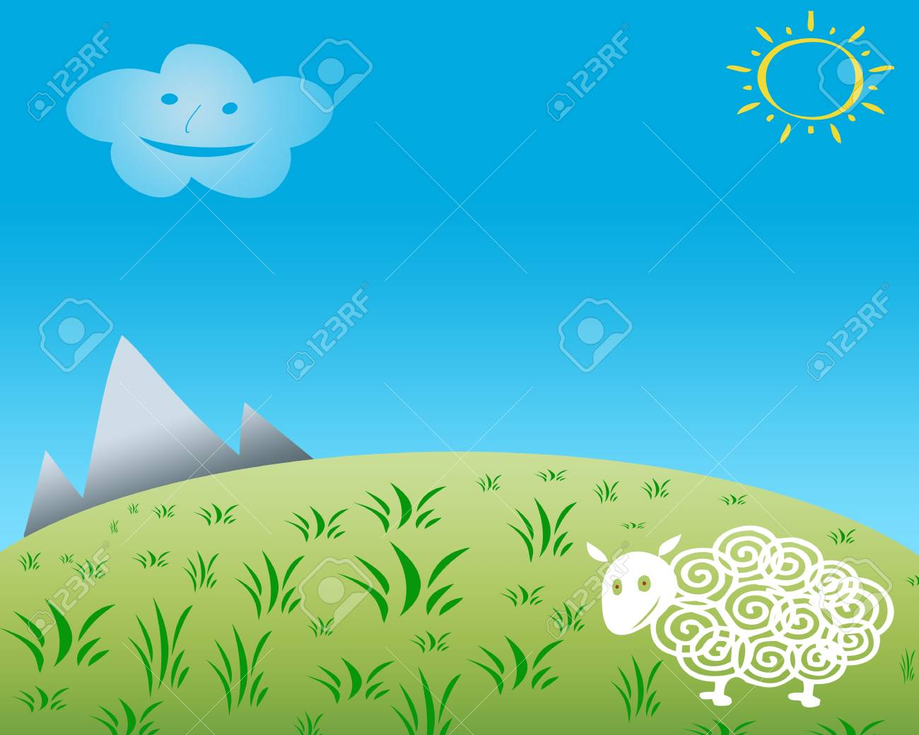 1300x1040 Child Drawing Of Happy Sheep On Grass Field With Blue Smiling