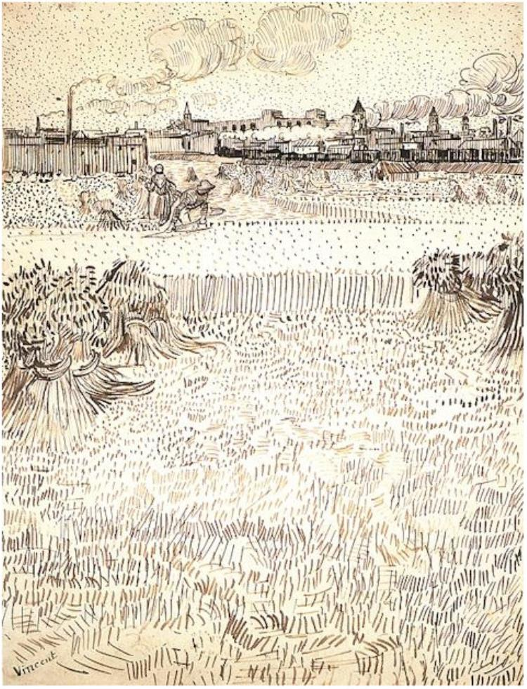 750x981 Wheat Field With Sheaves And Arles In The Background By Vincent