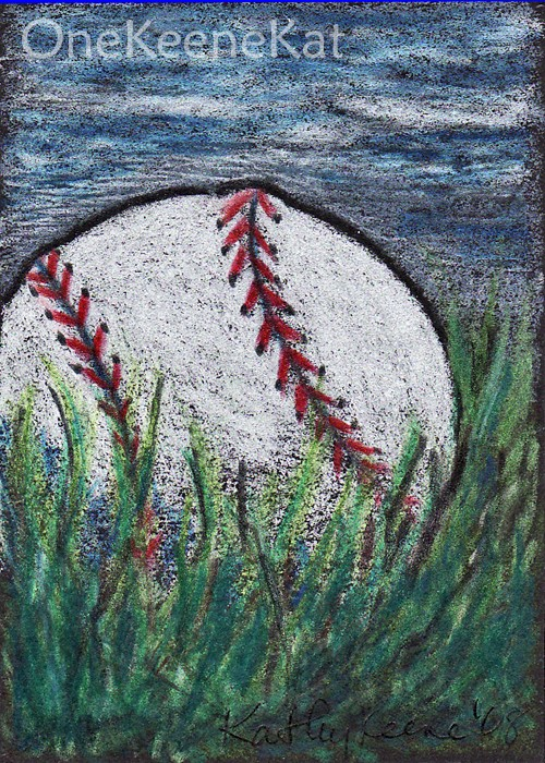 500x700 Aceo Print Baseball In The Grass Colored Pencil By Onekeenekat
